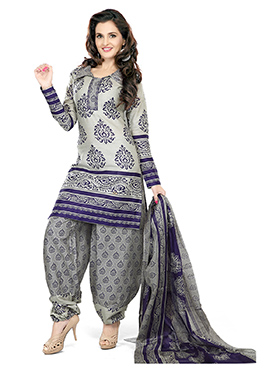 Silkbazar Printed Cotton Dress Material - Gray