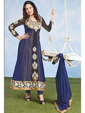 Silkbazar Embroidered Pure Georgette Anarkali Semi-Stitched Dress Material - Blue-SB-1349
