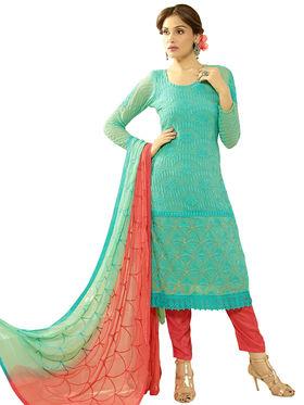 Thankar Semi Stitched  Chiffon Embroidery Dress Material Tas301-1975