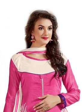 Thankar Embroidered Chanderi Cotton Semi-Stitched Suit -Tas315-6309