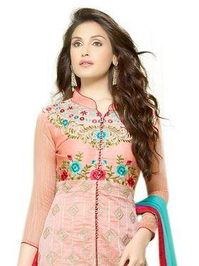 Thankar Embroidered Chanderi Cotton Semi-Stitched Suit -Tas332-3158
