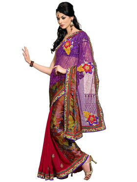Triveni's Net Embroidered Saree -TS43011