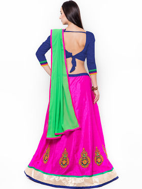 Triveni Pretty Magenta Art Silk Semi Stitched Lehenga Choli_Ts13279