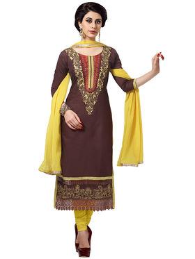 Triveni's Blended Cotton Embroidered Dress Material -TSMDESK1062