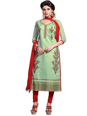 Triveni's Chanderi Cotton Embroidered Dress Material -TSMDESK1105