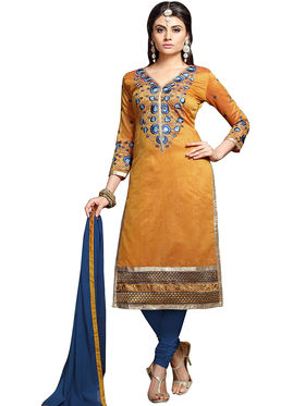 Triveni's Chanderi Cotton Embroidered Dress Material -TSMDESK1112