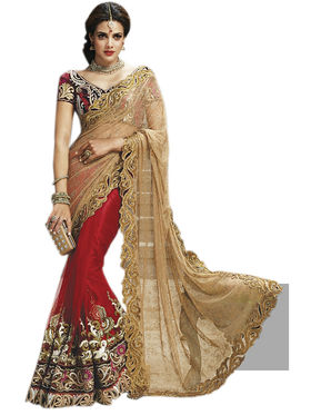 Triveni's Net Embroidered Saree -TSMN2716