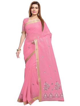 Triveni's Blended Cotton Embroidered Saree -TSMRCCPI4003