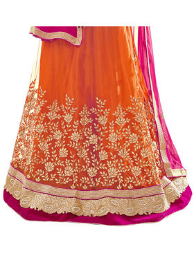 Triveni Embroidered Net & Satin Orange Lehenga Choli-TSN82022