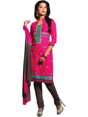 Triveni's Blended Cotton Embroidered Dress Material -TSRJTNSK104