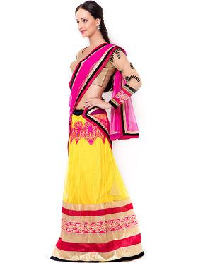 Triveni Pleasing Yellow Semi Stitched Net Lehenga Choli_Ts104