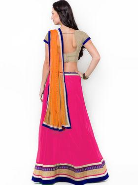 Triveni Lovely Magenta Semi Stitched Net Lehenga Choli_Ts107