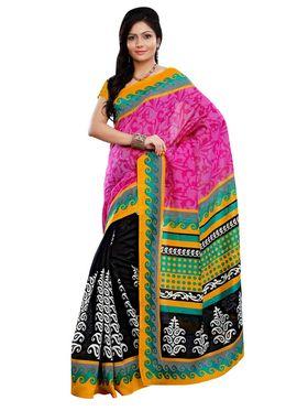 Triveni sarees Art Silk Printed Saree - Black - TSRIMB555AA