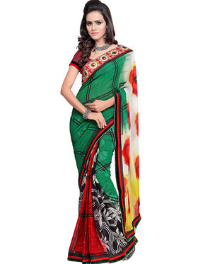 Triveni Faux Georgette Printed Saree - Multicolor - TS700018a