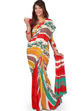 Triveni Faux Georgette Printed Saree - Multicolor - TSBF7