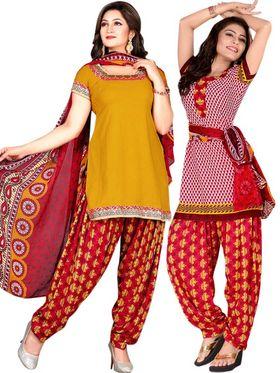 Triveni Sarees Beautiful Printed Polyseter Salwar Kameez With Dual Tops - TSDKTSK3006