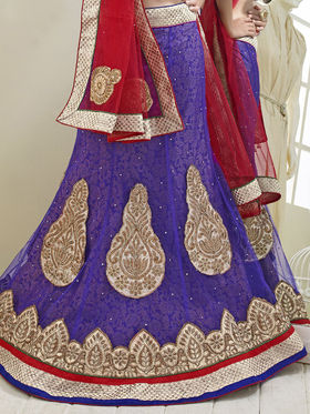 Triveni Jacquard - Net Embroidered Lehenga Choli - Green and Purple -TSN82008