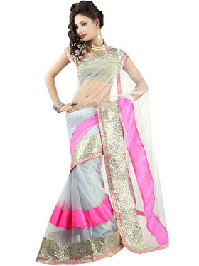 Triveni Net Border Worked Saree - Grey - TSRGB166