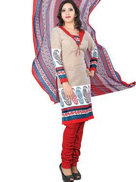 Triveni Blended Cotton Printed Dress Material - Beige - TSSDHSK1104