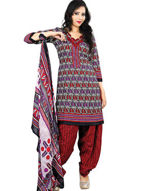 Triveni Blended Cotton Printed Dress Material - Multicolor - TSSDHSK1110