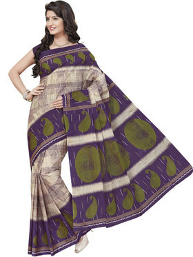 Triveni sarees Blended Cotton Printed Saree - Beige