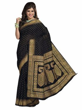 Triveni sarees Cotton Printed Saree - Black - TSMRCCRD424