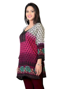 Variation Faux Crepe Printed Kurti - Multicolor - VD15105