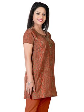 Variation Faux Crepe Printed Kurti - Orange - VD15112