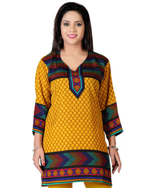 Variation Faux Crepe Printed Kurti - Yellow - VD15119