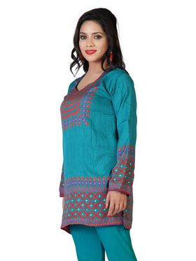 Variation Faux Crepe Printed Kurti - Green - VD15133