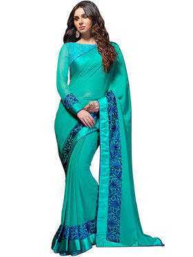 Nanda Silk Mills Georgette Embroiderd Saree -Vf-104