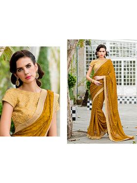 Nanda Silk Mills Embroidered Yellow  Saree_VR-2212