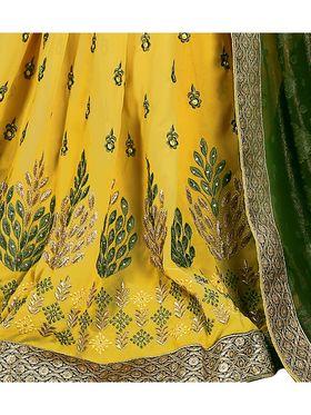 Khushali Fashion Embroidered Georgette Half & Half Saree_KF14