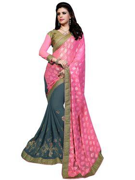 Khushali Fashion Embroidered Georgette Half & Half Saree_KF15