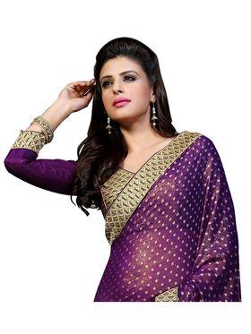 Khushali Fashion Embroidered Georgette Half & Half Saree_KF20