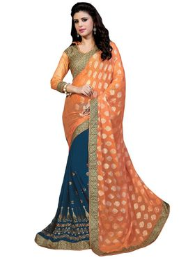 Khushali Fashion Embroidered Georgette Half & Half Saree_KF25