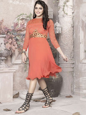 Viva N Diva 60 Gm Georgette Embroidered Kurti - Orange - 1017