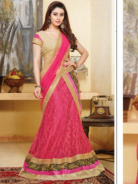 Viva N Diva Net Embroidered Lahenga - Pink