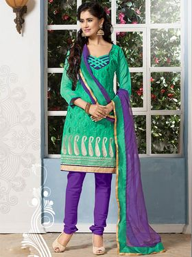 Viva N Diva Chanderi Cotton Embroidered Dress Material - Green