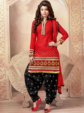 Viva N Diva Cambric Cotton Embroidered Dress Material - Red - 1008