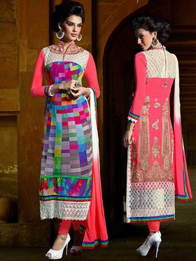 Viva N Diva Georgette Embroidered Dress Material - Multicolour