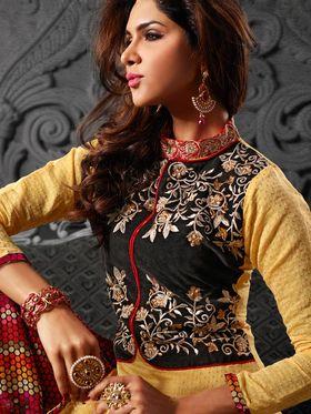 Viva N Diva Chanderi Cotton Embroidered Dress Material - Beige & Black
