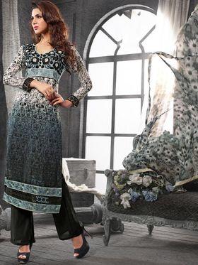 Viva N Diva Chanderi Cotton Embroidered Dress Material - Grey