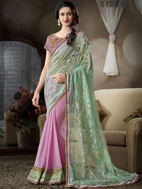 Nanda Silk Mills Latest Soft Net & Satin Georgette Pink Color Saree Exclusive Party Wear Saree_Vr-1910
