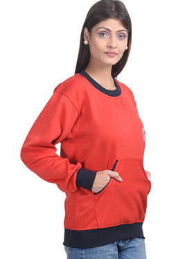 Eprilla Plain  Sweatshirt - Red -eprl70