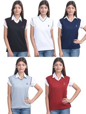 Pack of 5 Eprilla Spun Cotton Plain Sleeveless Sweaters -eprl29