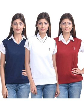 Pack of 3 Eprilla Spun Cotton Plain Sleeveless Sweaters -eprl24