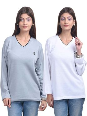 Pack of 2 Eprilla Spun Cotton Plain Full Sleeves Sweaters -eprl45