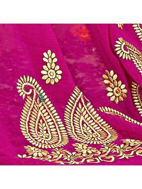 Khushali Fashion Embroidered Chiffon Half & Half Saree_KF79