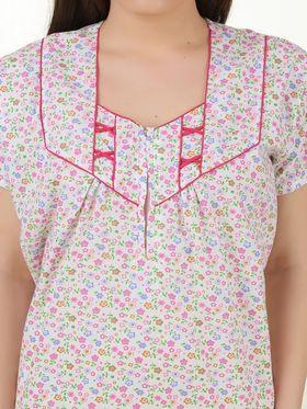 Fasense Cotton Floral Print Nightwear Long Nighty -YT021B1